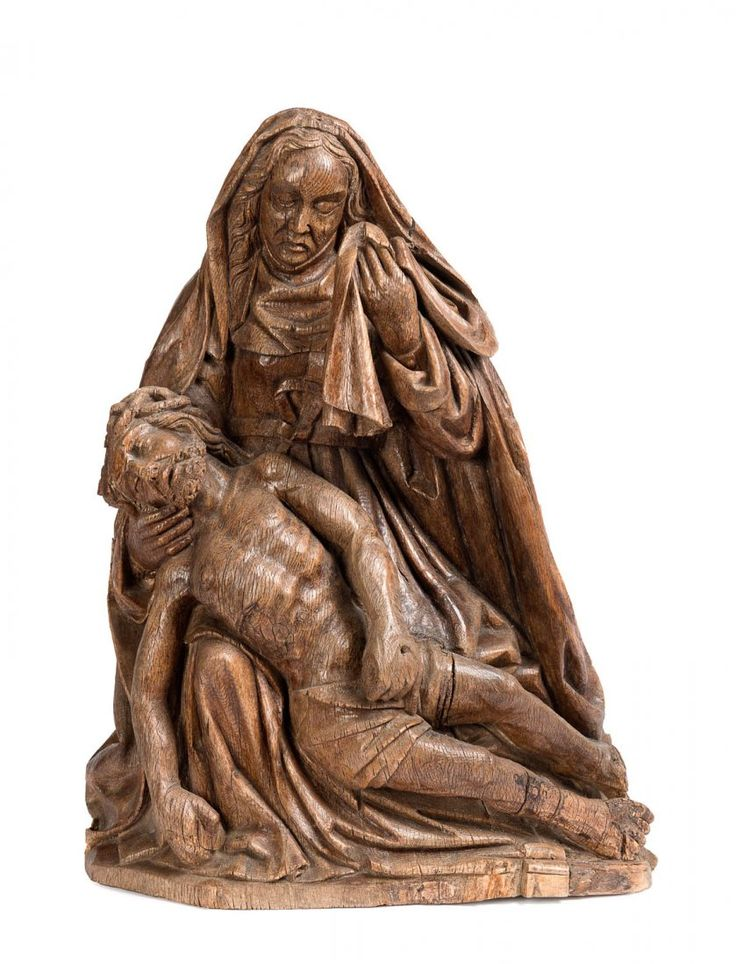Lot: A carved wood group of the Pieta, probably south, Lot Number: 0138, Starting Bid: A$4,000, Auctioneer: Mossgreen Auctions, Auction: An Important Private Collection, Date: September 14th, 2014 UTC