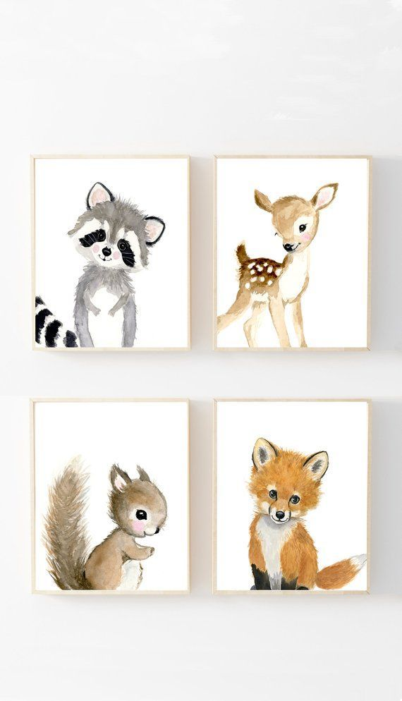 Woodland Nursery Prints Set 4, Neutral Nursery Art , Nursery Decor, Kids , nursery art,Woodland theme baby shower, woodland nursery prints – Bea Kl