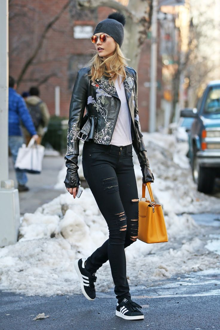 The Front Row View: Karlie Kloss Wears a Leather Biker Jacket in NYC