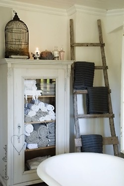 Bird cage and roll top bath..love the idea of towels placed on a ladder!
