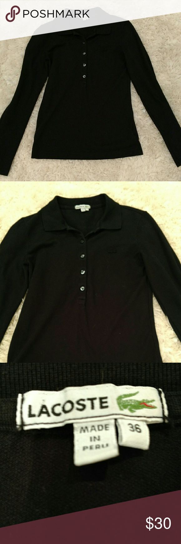 ***SALE***LACOSTE long sleeved polo! Form fitting. Worn a handful of times. Would comfortable fit a small or medium. Super flattering! Lacoste Tops Button Down Shirts