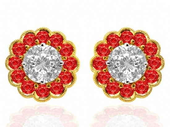 Spark Ruby & Diamond Earrings - Nazar's Fine Jewelry