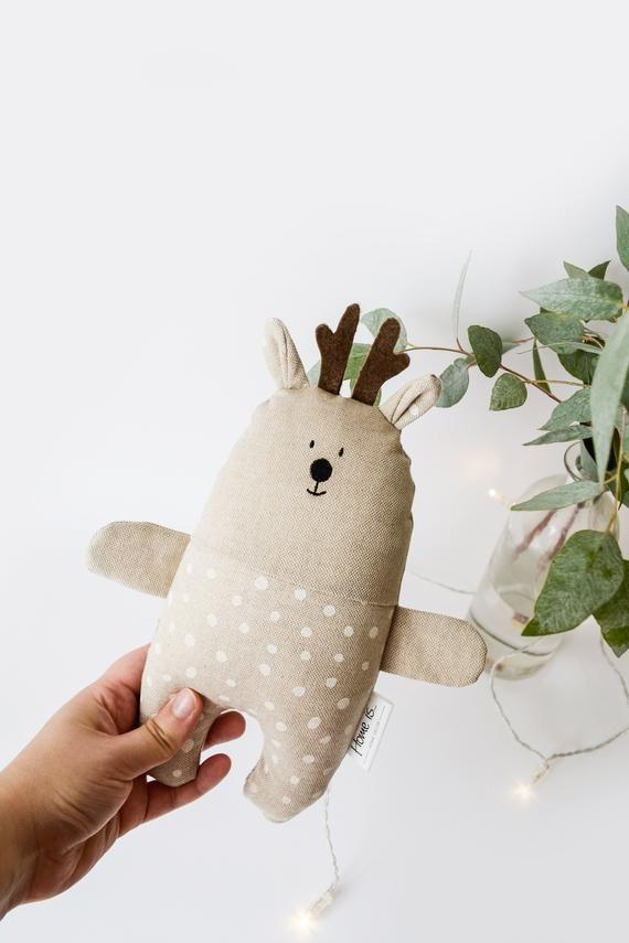 Cerf De Noel Cerf de Noël beige coton bébé jouet cerf cerf peluche | Etsy