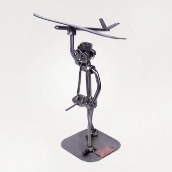 Schraubenmännchen Modellbauer mit Segelflieger