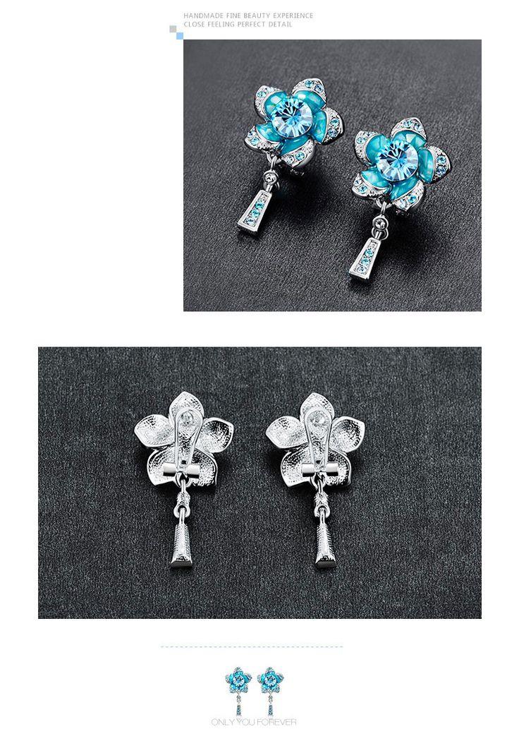 Beautiful Blue Flower - Necklace & Earring
