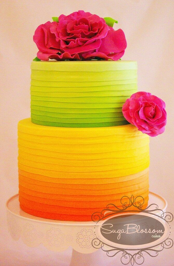 bright oranges and greens for this ombre cake - happy and cheery!