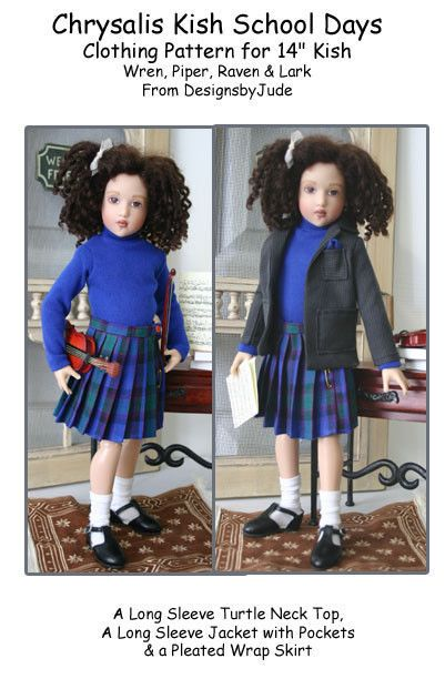 "School Days Doll Clothes Sewing Pattern 14"" Kish Wren, Piper & Raven #DesignsbyJude"