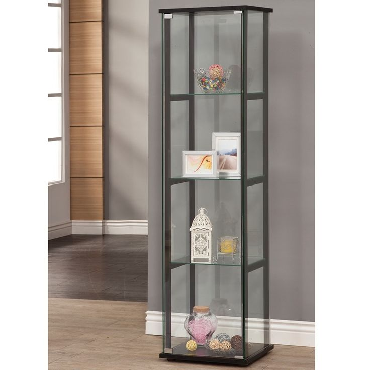 Avenue Glass Curio Cabinet With Black Trim Weekends Only Furniture And  Mattress