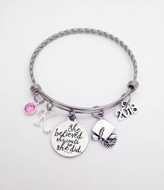 This 2018 Graduation Bracelet would make perfect personalized graduation gifts for girls, best friends or daughter. Great 2018 senior gift, senior night gift, high school graduation gift or college graduation gift! She believed she could and she did!!! The twisted stainless steel