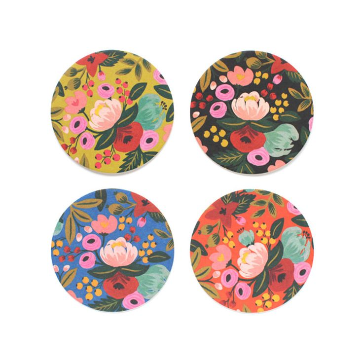 Give your guests a treat for their eyes with the Floral Delight Coaster Set. An assortment of brilliant colors are the backdrop for turquoise, pink and yellow flowers. This set oozes sophistication and...  Find the Floral Delight Coaster Set, as seen in the The Bohemian Botanist Collection at http://dotandbo.com/collections/the-bohemian-botanist?utm_source=pinterest&utm_medium=organic&db_sku=96964