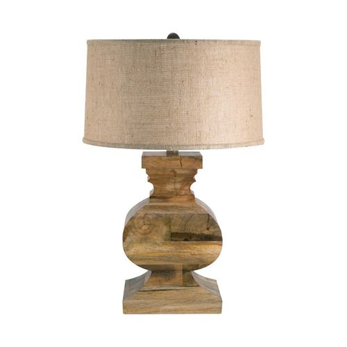 Curved Block Solid Wood Table Lamp - 807