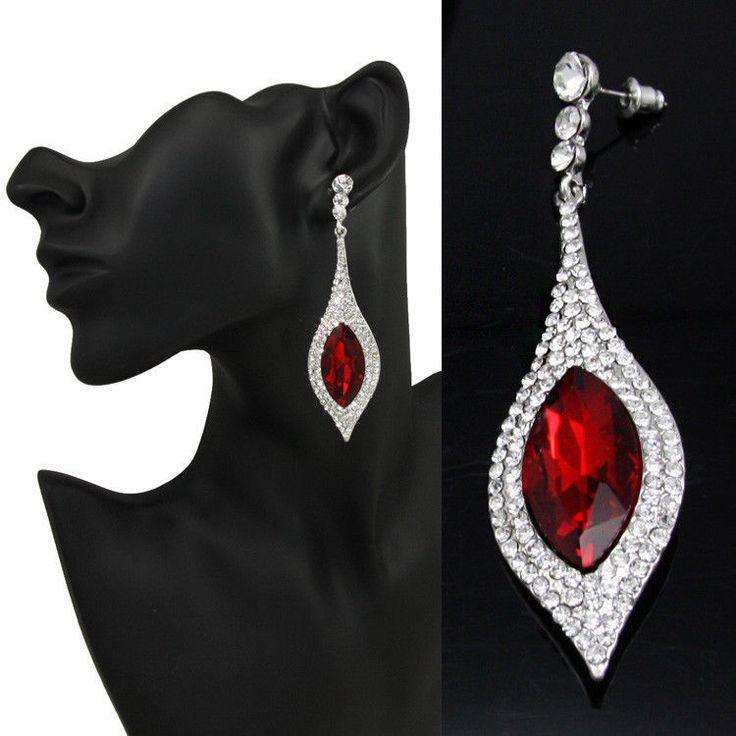 Red Chandelier Earrings Silver Long Drop CZ Bridal Earrings Pageant Earrings  #uniquejewells #Chandelier