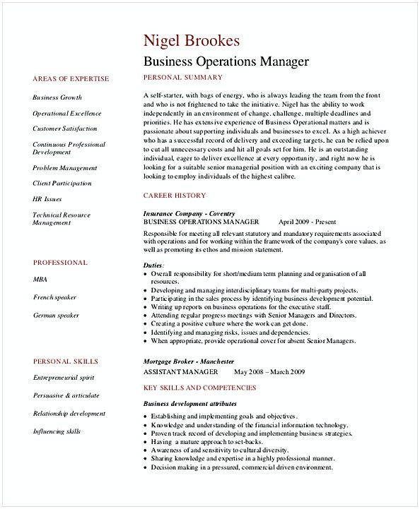 Business Operations Manager Resume 1 Resume For Manager Position Many Of Us Interested In Being Job Resume Examples Business Resume Template Manager Resume