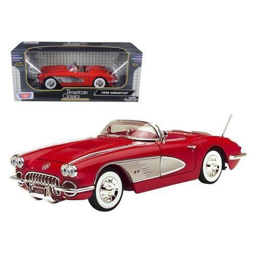 1958 Chevrolet Corvette Convertible Red 1/18 Diecast Model Car by Motormax