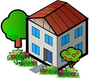 PublicDomainVectors.org-Graphiques vectoriels de maison au toit rouge. Clipart d'unité de vie individuelle.
