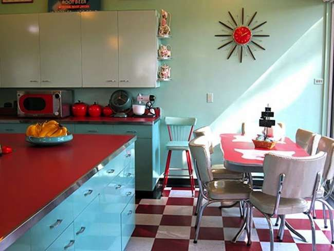 """Retro kitchen inspiration. Kitchens with personality! """"Today, the popular notion of a """"dream kitchen"""" includes an an all-white color palette, a suite of stainless steel appliances, and granite countertops polished to a glimmering sheen. In years past, however, such a design would most likely have struck homeowners as cold, antiseptic, and uninviting. Indeed, kitchen design philosophy has changed a great deal over the decades."""""""