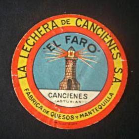 Antigua etiqueta de EL FARO, LA LECHERA DE CANCIENES, desaparecida fábrica de quesos y mantequilla