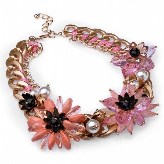 FJ Vintage Gold Fashion Chain Pink Flower by Glamorosajewelry