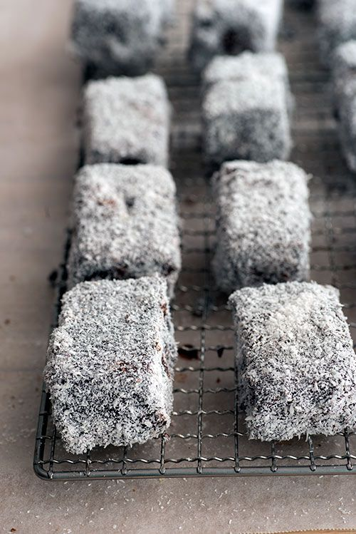 Felicita Sala's Lamingtons : http://www.designsponge.com/2013/04/in-the-kitchen-with-felicita-salas-lamingtons.html