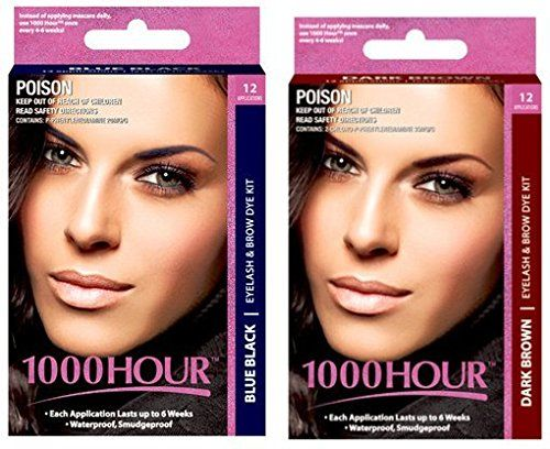 Combo Pack 1000 Hour Eyelash  Brow Dye  Tint Kit Permanent Mascara Blue Black  Dark Brown *** More info could be found at the image url.
