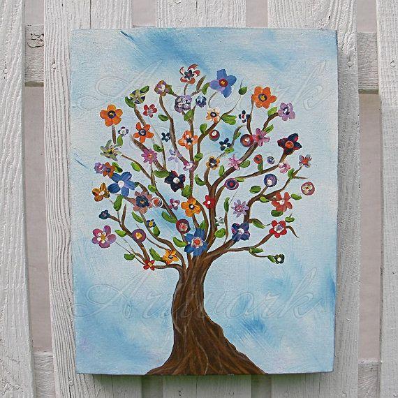 Original Tree of Life Primitive Folk Art Painting Penny Rug Flower Tree Big Box Panel on Etsy, $148.00