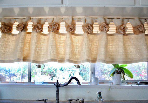 Burlap Valance Off White Handmade Tea Stain Fabric And Lace Rosette Burlap Valance Valance Tea Stains