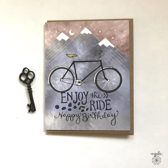 Bicycle Card Bike Birthday Card Bicycles Greeting Card Etsy In 2021 Bicycle Cards Watercolor Birthday Cards Birthday Cards