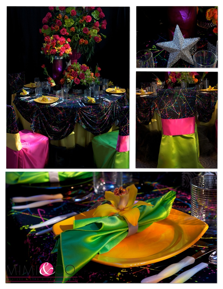 80s Themed Party Linen, Paint Splatter and Neon