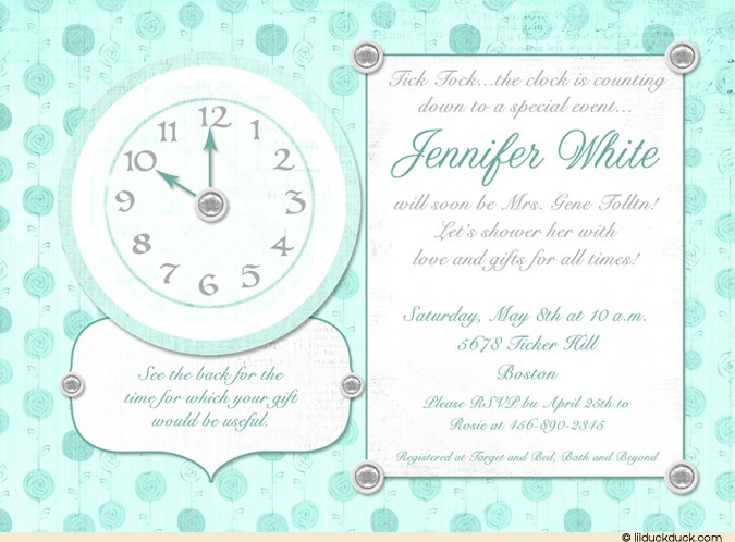 Around The Clock Bridal Shower Invitation With Teal Roses In Background