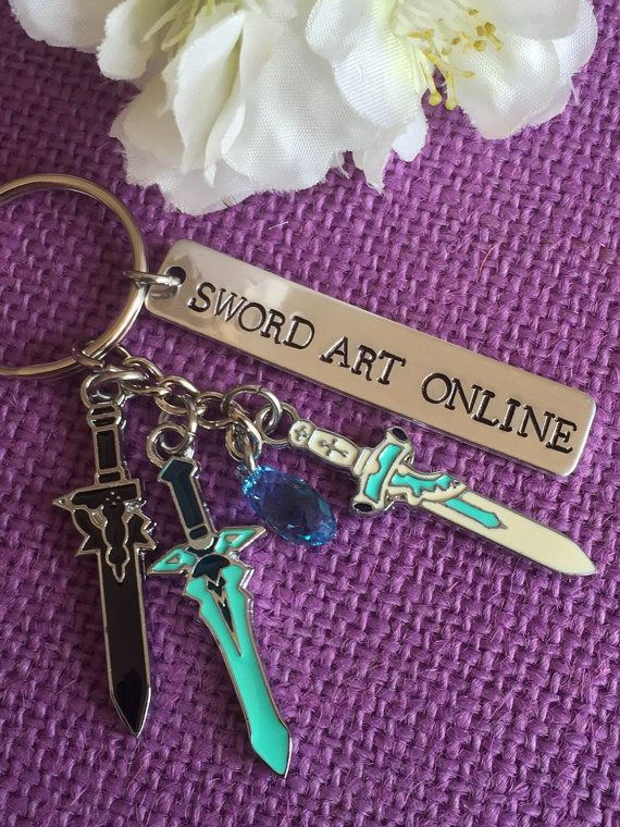 Hand stamped lightweight aluminum tag. SWORD ART ONLINE  It comes with Kirito and Asuna swords. Dark Repulser, Elucidator, and lament Light.  It