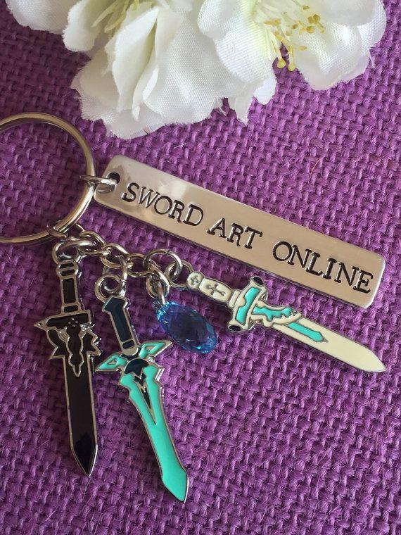 Hand stamped lightweight aluminum tag. SWORD ART ONLINE  It comes with Kirito and Asuna swords. Dark Repulser, Elucidator, and lament Light.  It