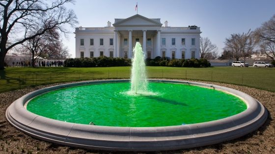 Since 2009, the fountain at the White House is dyed green in celebration of St.Patrick's Day