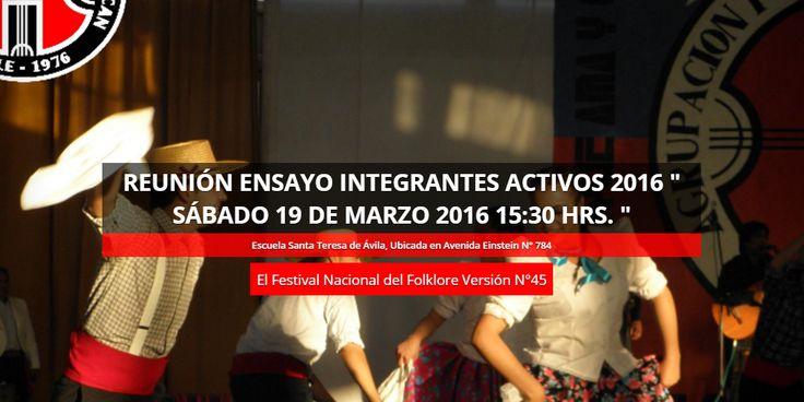 Integrantes Activos 2016 con las cuotas y trajes al día, ir a ensayo el  Sábado 19 de Marzo 15:30 hrs