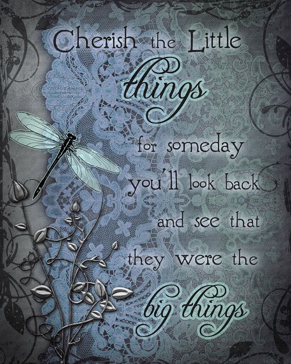 """CHERISH the LITTLE THINGS dragonfly art print, inspirational dragonfly art, 8"""" x 10"""" (stairway)"""