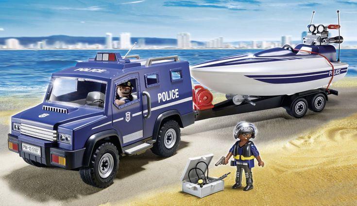 Playmobil - 5187 - Figurine - Fourgon Et Vedette De Police: Amazon.fr: Jeux et Jouets