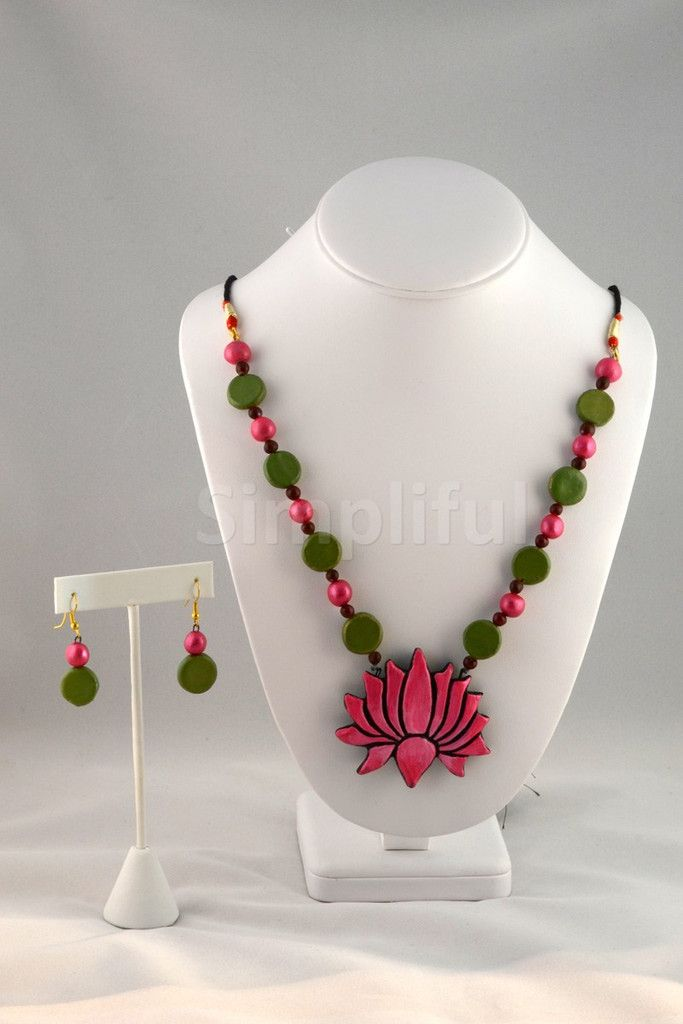 Terracotta Blooming Lotus Necklace and Earring Set