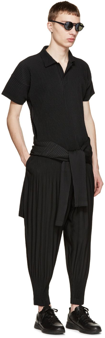 Homme Plissé Issey Miyake - Black Pleated Buttonless Polo