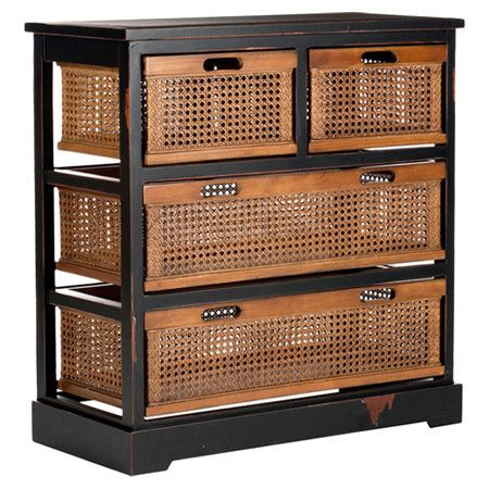 Bring a touch of country elegance to your kitchen or bathroom with this pine wood cabinet. Showcasing four cane drawers, it is the perfect place to store gue...