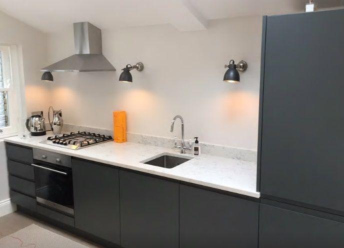 Graphite Dark Grey Handleless Kitchen In A Matte Finish