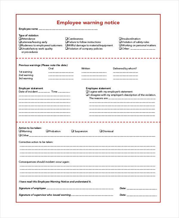 sample employee warning letters