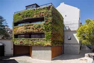 Il giardino verticale sulle facciate di una casa a Lisbona