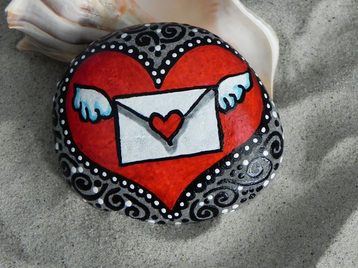 The Message in My Heart / Painted Rock / Sandi Pike Foundas / Cape Cod. $38.00, via Etsy.