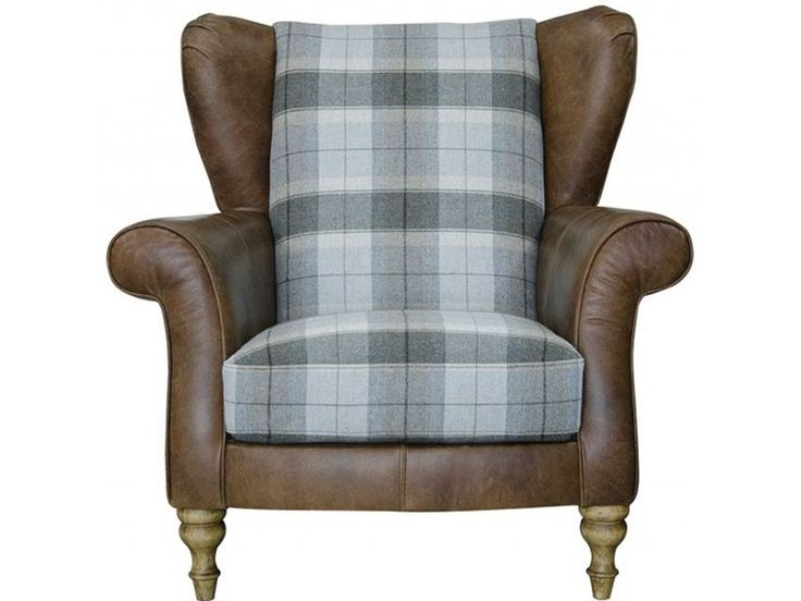 LONGROW LEATHER & FABRIC WING CHAIR WITH CHECK FABRIC ...