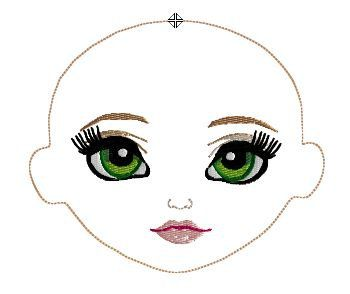 WHIMSY DOLLS MACHINE EMBROIDERY DESIGNS    This adorable embroidered Mara face design comes in the 4x4 hoop size -    HUS, JEF, VIP, PEC,  PES, SEW.