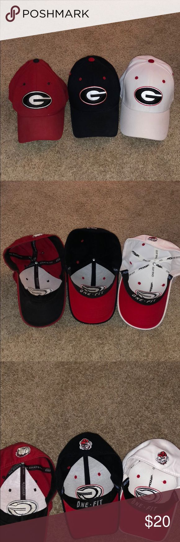 Lot of Fitted Used Georgia Bulldog Hats Lot of Fitted Used Georgia Bulldog Hats   -Black Hat - Top of the World - No Specified Size  -White Hat - Top of the World - L/XL  -Red Hat - Zephyr - 7 1/2  Please ask questions before purchasing. Accessories Hats