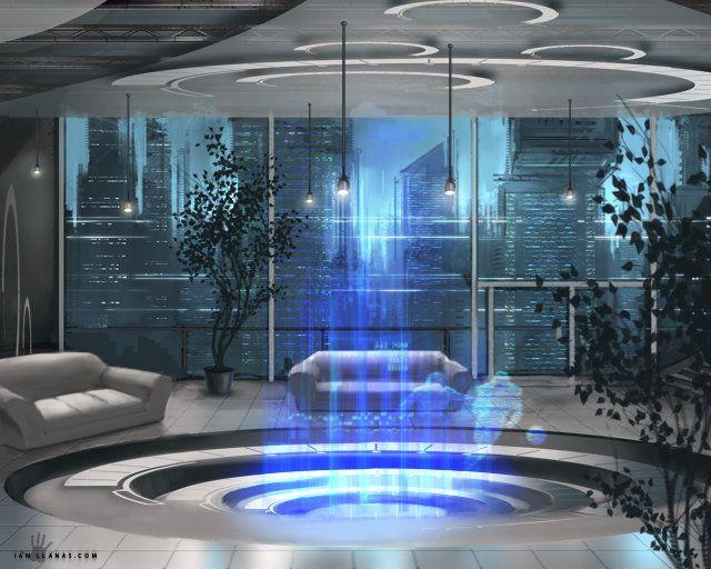 Penthouse by ianllanas | Digital Art / Drawings & Paintings / Sci-Fi | Futuristic Interior Design Concept City Metropolis Cyberpunk