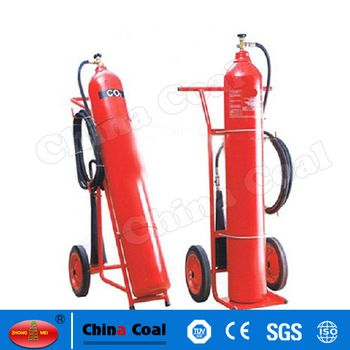 chinacoal03 MS-FE-02 CO2 Fire Extinguisher Price Carbon Dioxide extinguishers are filled with non-flammable carbon dioxide gas under extreme pressure. You can recognize a CO2 extinguisher by its hard horn and lack of pressure gauge. The pressure in the cylinder is so great that when you use one of these extinguishers, bits of dry ice may shoot out the horn. CO2 cylinders are red and range in size from 5 lbs to 100 lbs or larger. In the larger sizes, the hard horn will be located on the end o