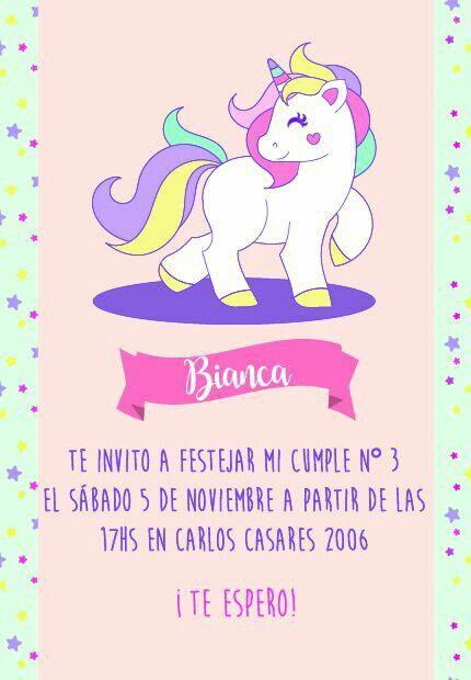 Invitación para cumpleaños de Ana Victoria #unicornio