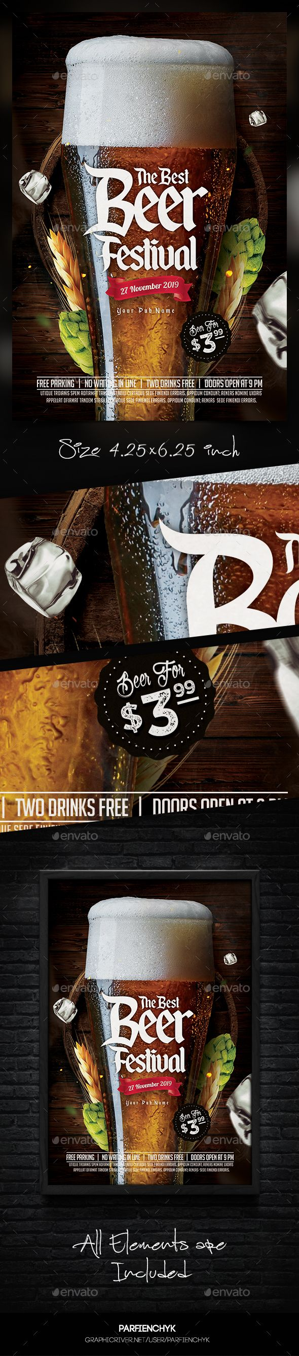 PSD  Beer Flyer Template  • Only available here ➝ http://graphicriver.net/item/beer-flyer-template/16364009?ref=pxcr
