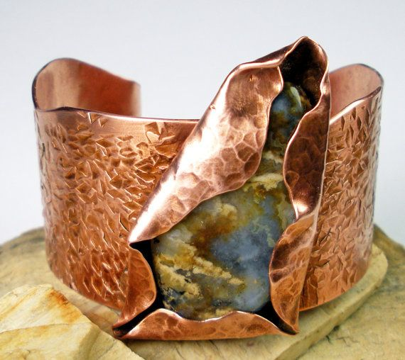 RESERVED For Pat Plume Agate and Copper Cuff Bracelet by FebraRose